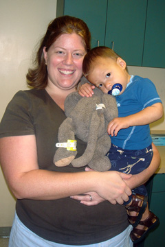 Monkey is the patient now, Noah wants to go home (and Mom is exhausted!)
