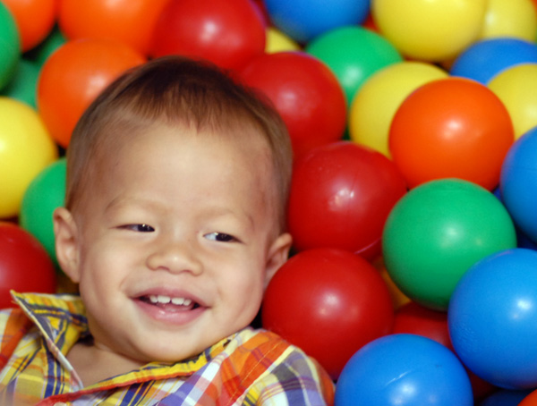 Noah in the ball pit